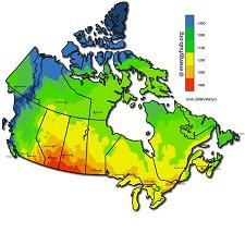 Carte de l'énergie solaire au Canada